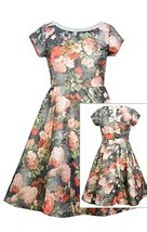 Big Girls Tween Gold/Multi Metallic Floral Jacquard Back Bow Fit Flare Dress,...