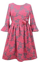 Big Girls Tween Bell Sleeve Floral Jacquard Knit Fit and Flare Dress, W4TG16-...