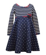 Little Girls Blue Diamond Quilted Stripes and Dots Fit Flare Knit Dress, W3-T... - $36.53