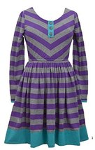 Girls Plus Purple/Grey Mitered Stripe Knit Fit and Flare Dress, Bonnie Jean, ...