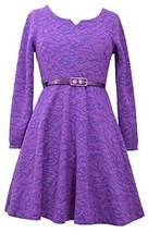 Girls Plus Purple Belted Puff Jacquard Knit Fit Flare Dress, Bonnie Jean, Pur...