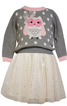 Little Girls Grey/Ivory 2-Piece Owl Intarsia Knit Sweater/Spangle Skirt Set, ... - $39.50