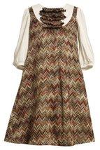 Little Girls 2T-6X Brown Ivory Zig Zag Flamestitch Twofer Knit Dress (2T, Brown)