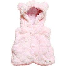 Baby Girls Pink Bear-Hooded Faux Fur Vest/Coat, Mayoral, Rose Paste, 3M