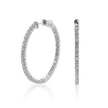 2.45 Carat Inside Out Diamond Hoop Earrings 14K White Gold - $1,691.91
