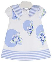 Baby Girls Blue White Floral Dot Nautical Resort Sailor Dress, Mayoral, Indig...