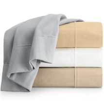 Peacock Alley 6oz Double Sheared Flannel White 4P King Sheet Set $215 - $123.45
