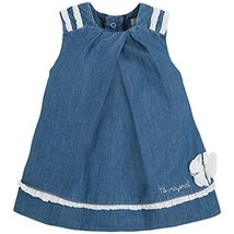 Baby Girls Blue Denim Crossover Pleat Trapeze Dress, Blue, 6/9M, Mayoral, BBN...