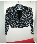 White Flowers on Black  Cropped Vintage Suit/Jacket M - $24.88