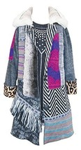 Little Girls Patcwork Duster Coat with Faux Fur, F2-TDLG-FAL15-Hannah Banana,...