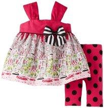 Bonnie Baby Baby-Girls Infant City Print Legging Set (3-6 Months, Pink)
