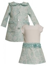 Baby Girls Infant Aqua-Blue Ivory Ruffle Jacquard Dress/Coat Set, Aqua, 24M image 2