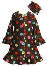 Size-4 BNJ-9781B 2-Piece BROWN MULTI-DOT FLEECE COAT/Jacket/Outerwear and HAT...