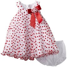 Bonnie Baby Girls Infant Heart Crystal Pleat Dress (3-6 Months, Red) [Apparel]