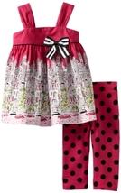 Bonnie Jean Little Girls' City Print Legging Set, Pink, 2T [Apparel] Bonnie Jean