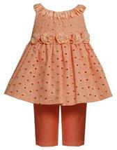 Size-3/6M, Peach, BNJ-9733R, Ruched Neckline Rosette Waist Eyelet Legging Set...