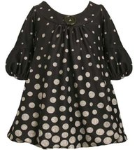 Gradient Dot Print Bell Sleeve Knit Bubble Dress DT1HB Bonnie Jean Baby-Infan...