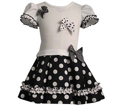Baby Girls Navy-Blue/White Ruffle and Bow Polka Dot Drop Waist Dress, Bonnie ...