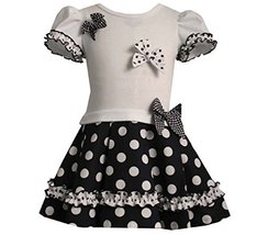 Baby Girls Navy-Blue/White Ruffle and Bow Polka Dot Drop Waist Dress, Bonnie ...
