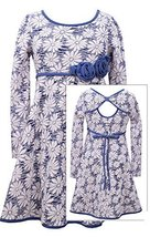 Girls Plus Blue/White Open Back Floral Jacquard Knit Fit Flare Dress, Bonnie ...