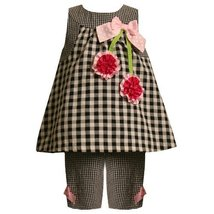 Bonnie Jean Baby/Infant 3M-9M 2-Piece BLACK WHITE GINGHAM CHECK SATIN ROSETTE...