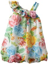 Bonnie Baby Girls Infant One Shoulder Chiffon Bubble Dress (3-6 Months, Multi