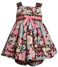Bonnie Jean Baby/Infant Girls 12M-24M 2-Piece BROWN PINK BLUE WHITE FLORAL PO...