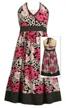 Pink Black White Floral Print Dot Trim Knit Dress BW4SV,Bonnie Jean Tween Gir...