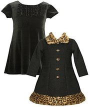 Baby-Girls Infant 12M-24M Velvet Metallic Fur Trim Dress/Jacket Set, BK1MH, B...