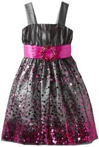 Bonnie Jean Girls 2-6X Mesh Dress with Sequins (2T, Fuschia) [Apparel]