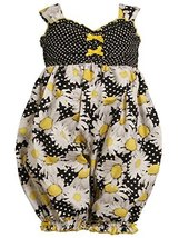 Baby Girls 3M-24M Yellow Dots and Daisy Floral Print Romper (0-3 Months, Blac...