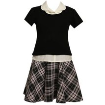 Size-14.5 BNJ-8153B PINK BLACK WHITE METALLIC PLAID MOCK-LAYERED DROP WAIST S...