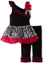 Bonnie Baby Baby-Girls Infant One Shoulder Legging Set (6-9 Months, Pink)
