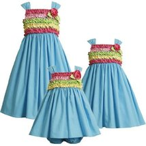 Bonnie Jean Little Girls' Rusched Bodice Sundress, Blue, 6x [Apparel] Bonnie ...
