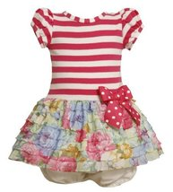Bonnie Baby Girls Infant Knit Bodice To Drop Waist Print Ruffle Skirt (18 Mon...