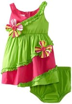 Bonnie Baby Girls' Bias Pieced Sundress, Green, 24 Months [Apparel]