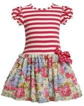 Bonnie Jean Girls 2-6x Knit Bodice To Drop Waist Print Ruffle Skirt (2T, Fuch...