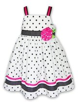 Good Lad Girls 4-6x Polka Dot Ribbon Rose Sun Dress, White/Black, 6x [Ap... - $27.72