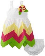 Bonnie Baby Girls' Hem Dress, White, 12 Months [Apparel]