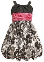 Size-12.5, Black, BNJ-8984R, Black/White/Pink Shirred Rosette Waist Floral Pr...