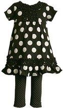 Bonnie Jean Little Girls 2T-6X Black/White Dot Print Knit Dress/Legging Set (...