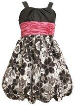 Size-14.5, Black, BNJ-8984R, Black/White/Pink Shirred Rosette Waist Floral Pr...