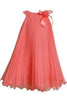 Bonnie Jean Girls Plus 12.5-20.5 Coral Flock Dot Crystal Pleat Dress (14.5, C...