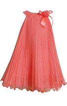 Bonnie Jean Girls Plus 12.5-20.5 Coral Flock Dot Crystal Pleat Dress (14.5, C...