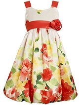 Big Girls Plus Orange Yellow Green Floral Border Shantung Bubble Dress (12.5,...