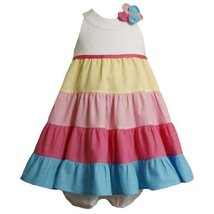 Size-3/6M BNJ-9095M 2-Piece MULTI TIERED COLOR BLOCK X-BACK Girl Summer Party...