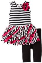 Bonnie Jean Little Girls 4-6X 2-Piece Ruffle Skirt Pant Set (4T, Fuchsia)