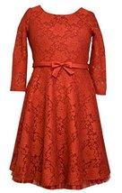 Big Girls Tween Red 3/4 Sleeve Lace Fit & Flare Dress, X4-TG16-HOL15-4MB, Bon... - $42.47