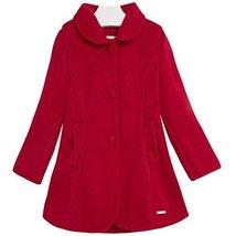 Little Girls Pink Bow Pocket Fit Flare Knit Dress Coat, Mayoral, Scarlet, 2