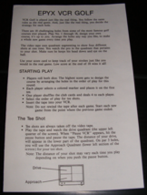 1988 EPYX VCR Golf Board Game Instructions - $10.00